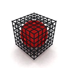 3D Cube And Red Ball Royalty Free Stock Images