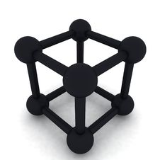 3D Cube And Big Spheres Royalty Free Stock Images