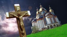 Free Crucifix Against A Background Of Church Stock Photos - 15080673