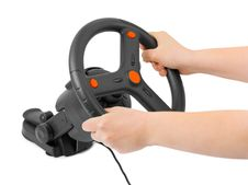 Free Computer Steering Wheel And Hands Stock Photography - 15081242