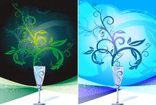 Glass Cup Champagne With Rising Swirl Royalty Free Stock Image