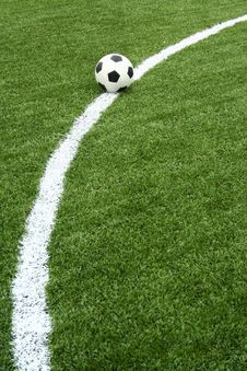 Free Football On Soccer Field With Curve Line Royalty Free Stock Images - 15082079