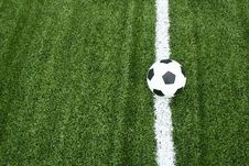 Free Football On Soccer Field With Line Royalty Free Stock Image - 15082186