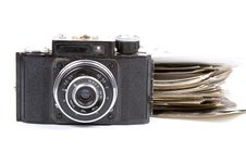 Free Old Camera And Pictures Stock Photography - 15082312