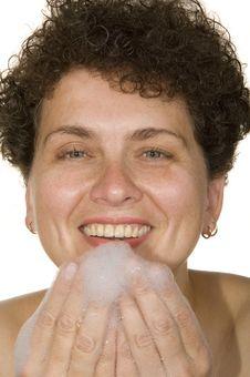 Woman  Washes Foam Stock Photo