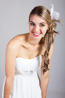 Free Attractive Young Woman In A White Dress Stock Image - 15082841