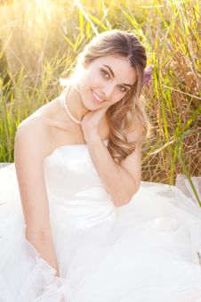 Free Attractive Young Bride Sitting In The Grass Royalty Free Stock Photo - 15082885