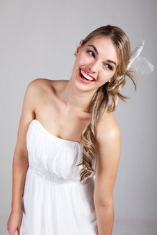 Free Attractive Young Woman In A White Dress Stock Image - 15083091