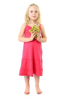 Free Little Girl Takes Bunch Of Grape Royalty Free Stock Photo - 15083445