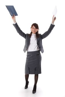 Free Pretty Business Woman Celebrating Success Royalty Free Stock Images - 15084409
