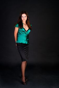 Free Brunette In Green Blouse Royalty Free Stock Image - 15084736