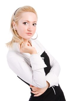 Young Blonde In A Blouse With On White Background Stock Photo