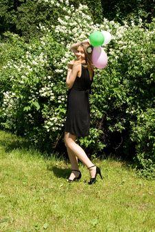 Free Joyful Girl With Balloons Stock Photo - 15085520