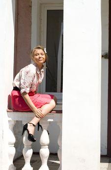Free Girl  On A Veranda Stock Photography - 15085522