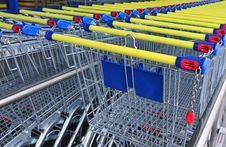 Row Of Shopping Carts, Detail Stock Image