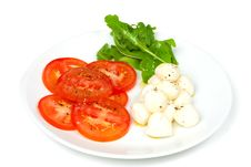 Starter Of Mozzarella And Tomato Salad Stock Photos