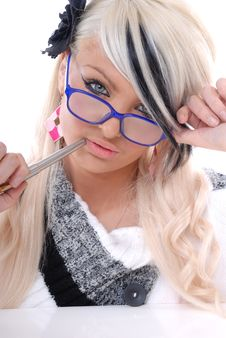 Sexy Blond Girl In Glasses With Pen Stock Photo