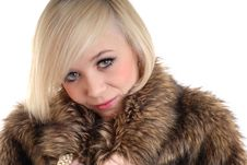 Free Sexy Smiling Blond Wearing Fur Coat Royalty Free Stock Photo - 15087625