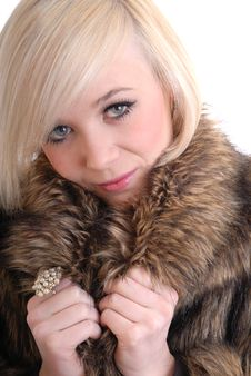 Free Sexy Smiling Blond Wearing Fur Coat Royalty Free Stock Images - 15087639