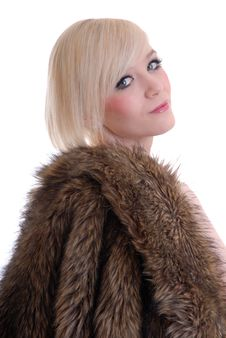 Free Sexy Smiling Blond Wearing Fur Coat Royalty Free Stock Photos - 15087648