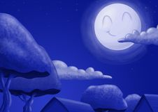 Free Night Time And Happy Moon Stock Photo - 15087930