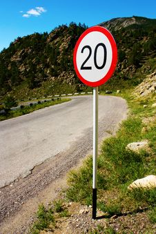 Free Speed Limit Sign On Old Road In Mountains Stock Photos - 15088633