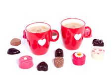 Free Ovely Cups With Coffee And Chocolate Candy Royalty Free Stock Images - 15089149