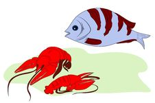 Free Fish And Two Lobsters Royalty Free Stock Photography - 15089377