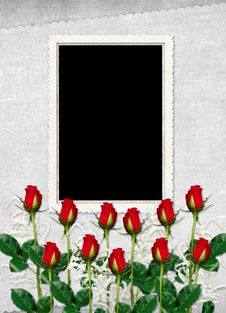 Free Card For The Holiday With Red Rose Stock Photography - 15089382