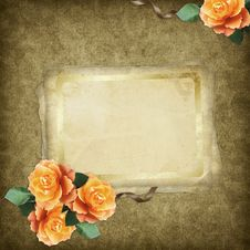 Vintage Card For The Holiday  With Flowers Royalty Free Stock Photos