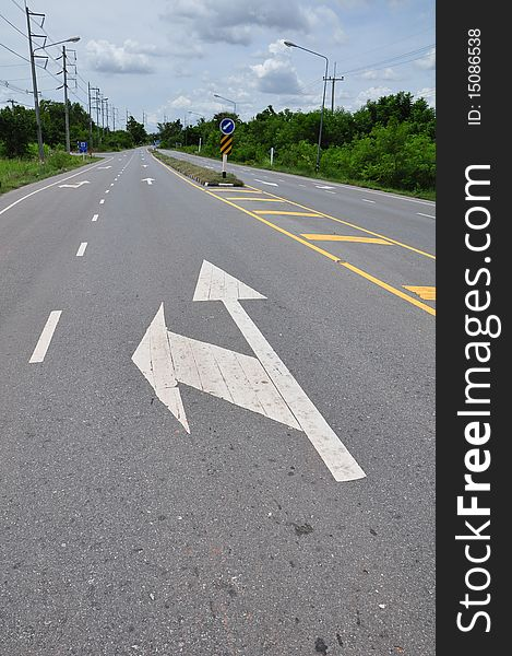 Arrow symbol on the road