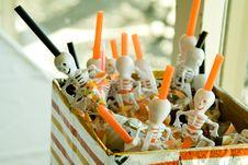 Free Halloween Skeleten Straws Stock Photos - 15090653