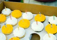 Yellow And White Birthday Cupcakes Royalty Free Stock Photography