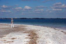 Free Woman Walking Beach Stock Photo - 15090850