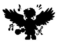 Free Black Angel With Violin Royalty Free Stock Image - 15090946