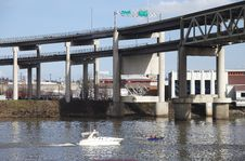 Free Elevated Freeway & Boats, Portland Oregon. Stock Image - 15091471