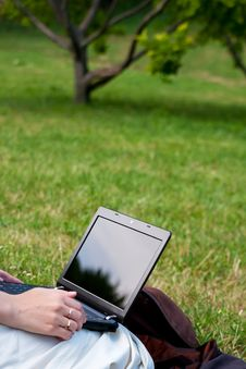 Free Woman With Laptop In Park Royalty Free Stock Images - 15091829