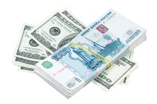 Dollars And Roubles Stock Image