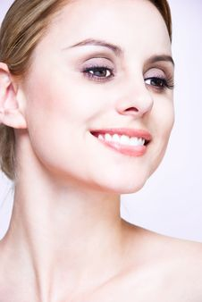 Close-up Face Of Blond Beauty Stock Photo