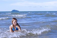 The Girl Learns To Swimm In The Sea. Royalty Free Stock Image