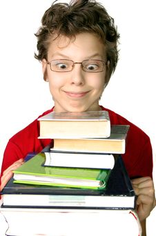 Funny Boy With Set Of Books Stock Images
