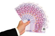 Hand With Euro Banknotes Stock Images