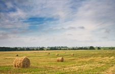 Free Beautiful Stubble Field With Hay Bales By Summer. Stock Photo - 15097420