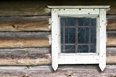 Old Window In A Wooden Wall Stock Images
