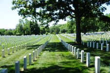 Tombstone Rows At Arlington National Cemetery Stock Photo