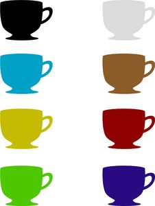 Free Coffe Cup Set Royalty Free Stock Photos - 1511028