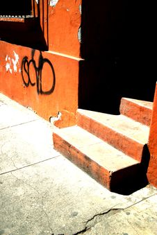 Free Stairway Of An Orange House Stock Photography - 1513222