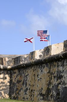 Free Flags On Castle Wall Stock Images - 1513374