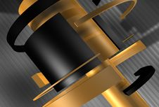 Hi-Tech Rotation Cylinders 3D Background Stock Photos