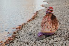 Free Child On The Beach, Autumn Stock Photos - 1514253